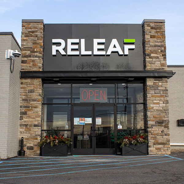 The Wayne Releaf main entrance, parking lot view. Wayne Releaf is one of the finest dispensaries in Wayne, MI.